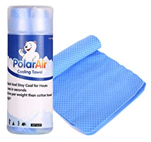 "Polar Air Cooling Towel for Instant Relief - 32""x7""- Stay Cool for Bowling Fitness Yoga Travel Camping Golf Football & Outdoor Sports Neck Headband Bandana Scarf"