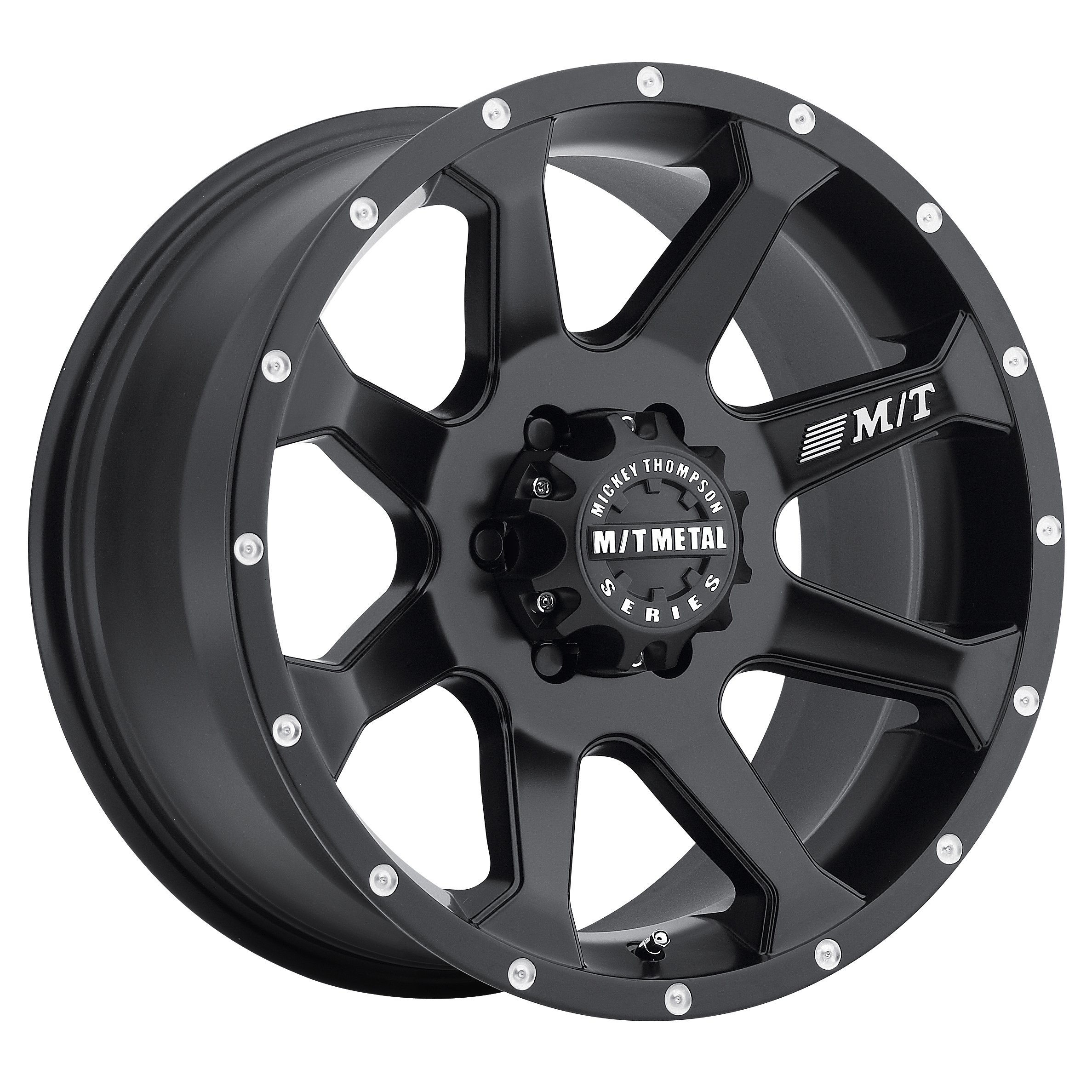 Mickey Thompson M/T Metal Series MM-366 Matte Black Wheel with Milled Lip (20x9''/5x5'') -12 millimeters offset