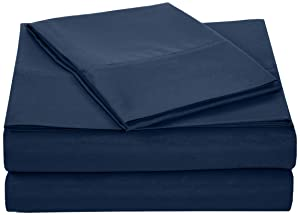 "AmazonBasics Lightweight Super Soft Easy Care Microfiber Sheet Set with 16"" Deep Pockets - Twin, Navy Blue, 4-Pack"