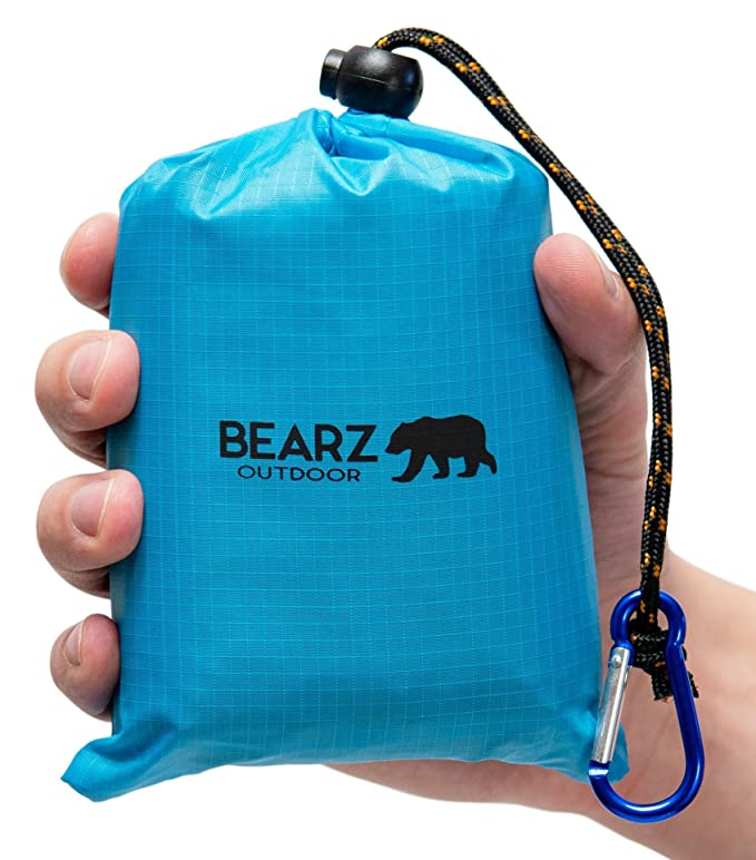 BEARZ Outdoor Beach Blanket/Compact Pocket Blanket 55″x60″ - Lightweight Camping Tarp, Waterproof Picnic Blanket, Festival Gear, Sand Proof Mat for Travel, Hiking, Sports - Packable w/Bag (Blue) best women's travel accessories