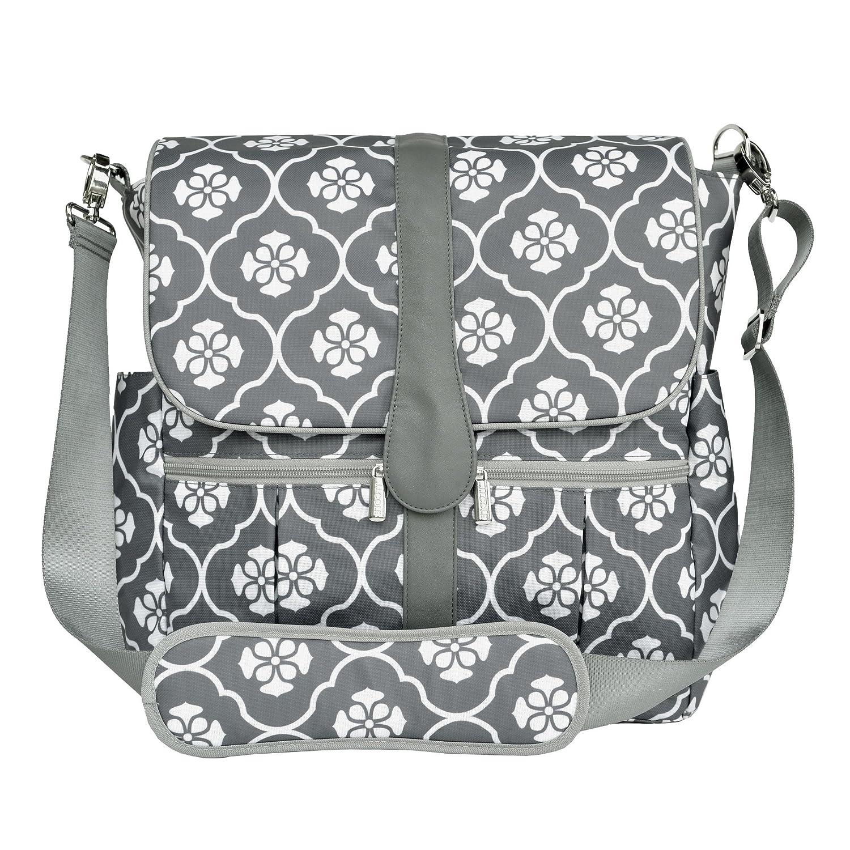 JJ Cole Backpack Diaper Bag, Grey Floret J00360