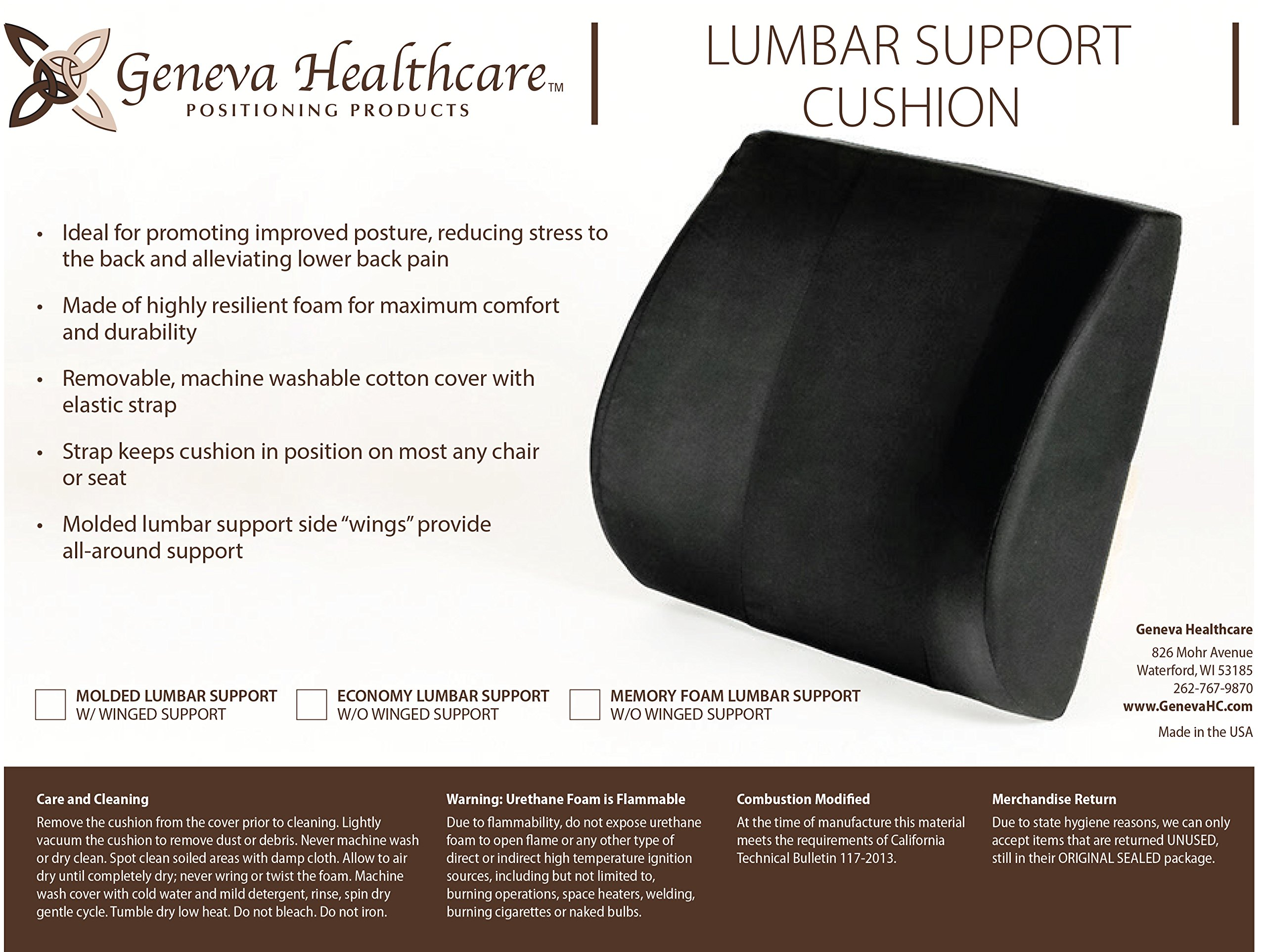 Geneva Healthcare Molded Lumbar Support - 4.5'' x 14'' x 15'' - 1/EA