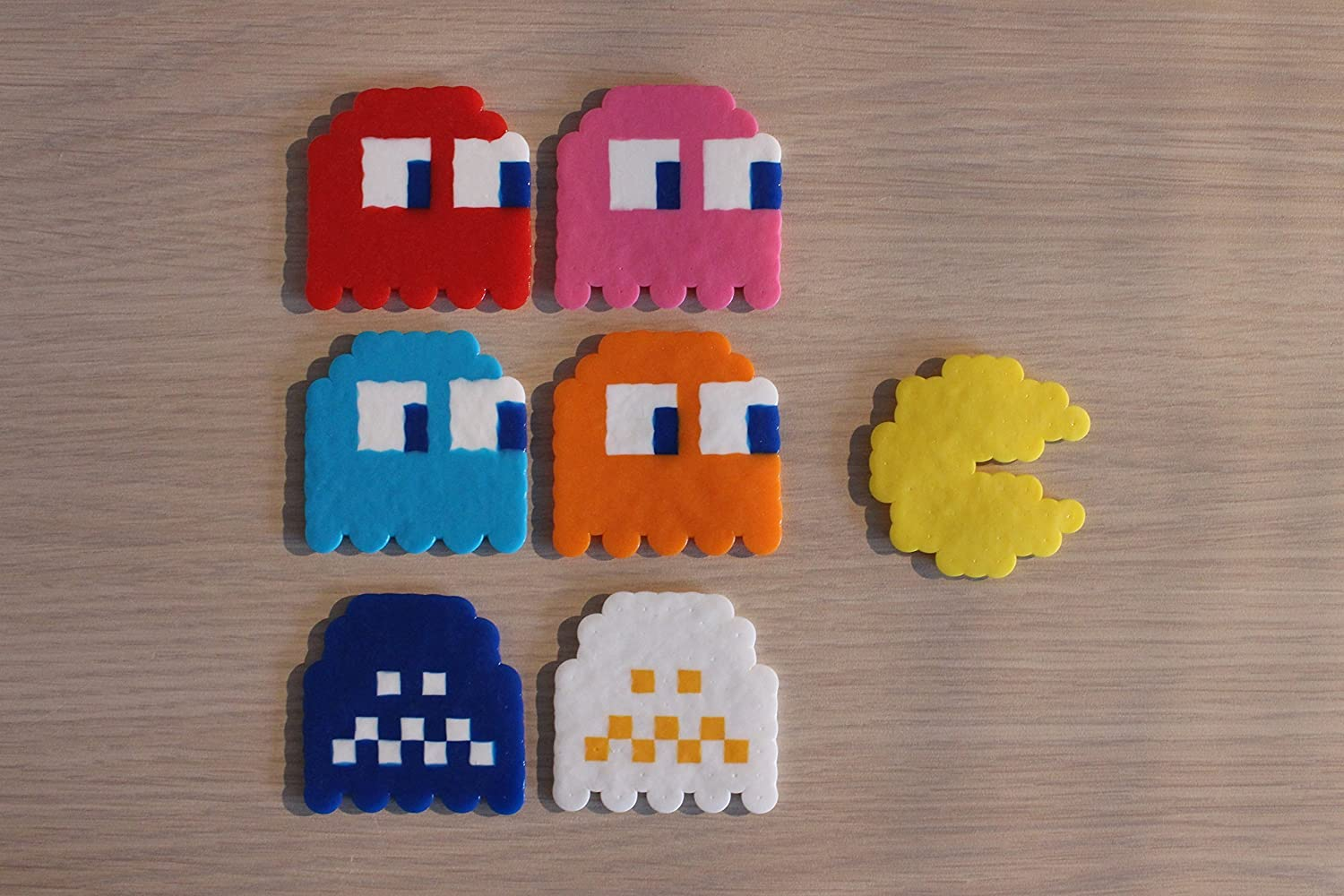 Pac-Man & Ghosts Pixel Art Bead Sprites from the Pac-Man Video Game Series