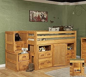 Amazon.com: Chelsea Home Twin Junior Loft Bed With Storage: Home U0026 Kitchen