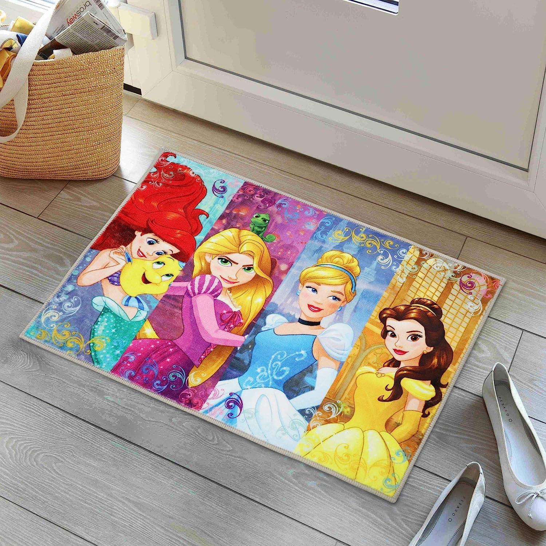Disney Princess Rug Cartoon Movie Area Rugs for Girls Bedroom Non-Slip Mats 16x24 Inches