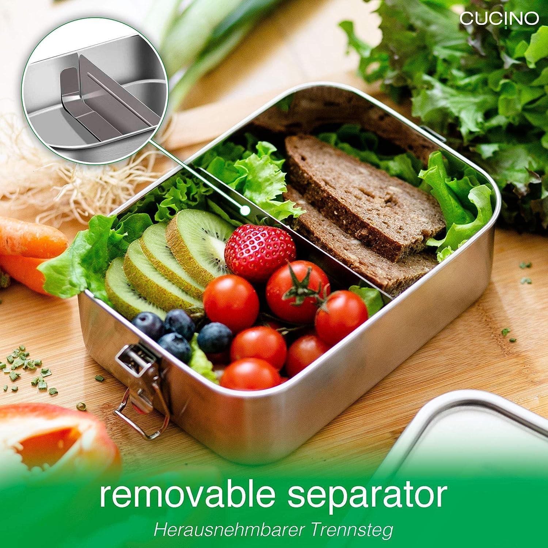 Bento Box Edelstahl Brotdose Zero Waste Eco Brotbox mit Unterteilung Brotdose Kinder mit Trennwand Cucino 100/% auslaufsichere Lunchbox mit F/ächer /& faltbarem G/öffel