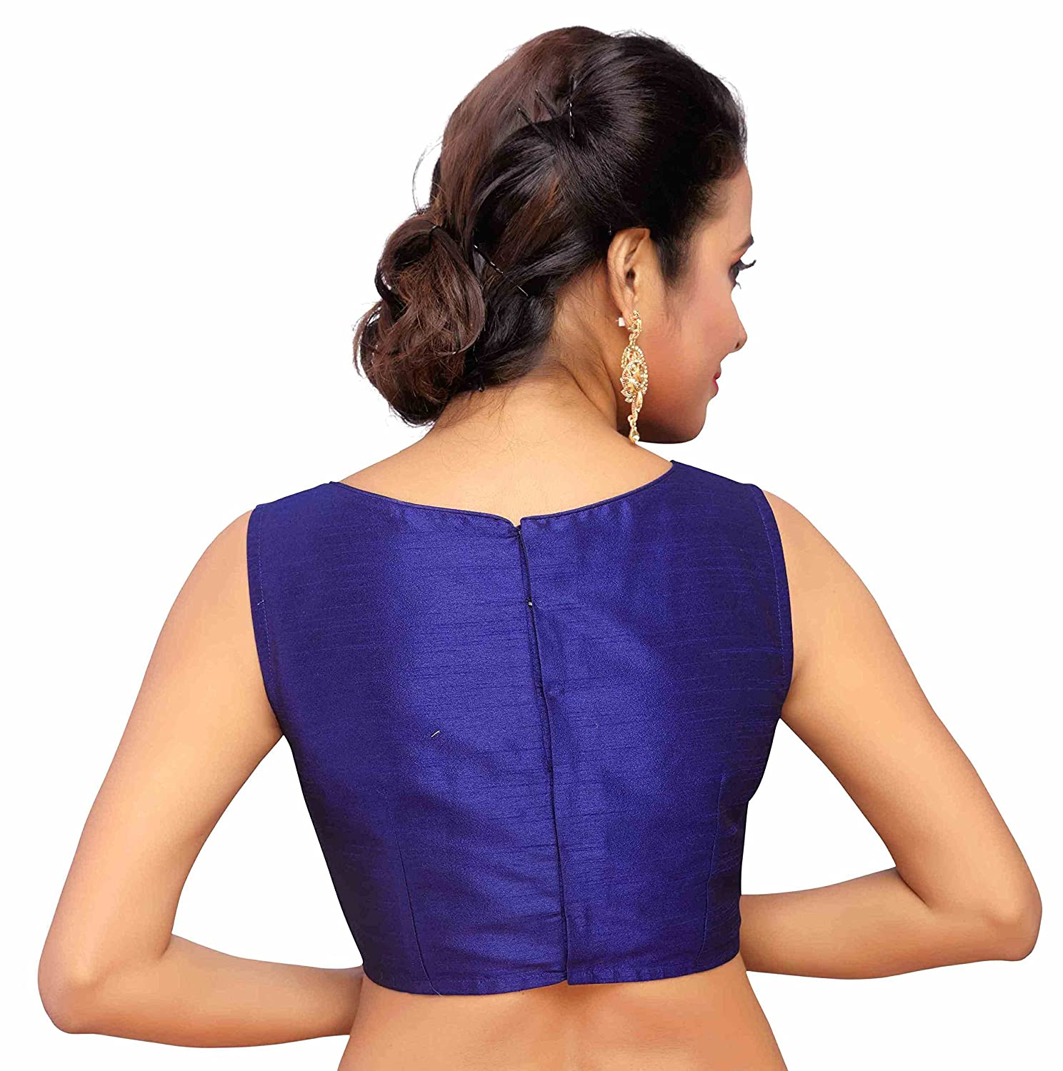 c3614393ff0b9 STUDIO SHRINGAAR WOMEN S POLY SILK EMBROIDERED SLEEVELESS READYMADE SAREE  BLOUSE  Amazon.in  Clothing   Accessories