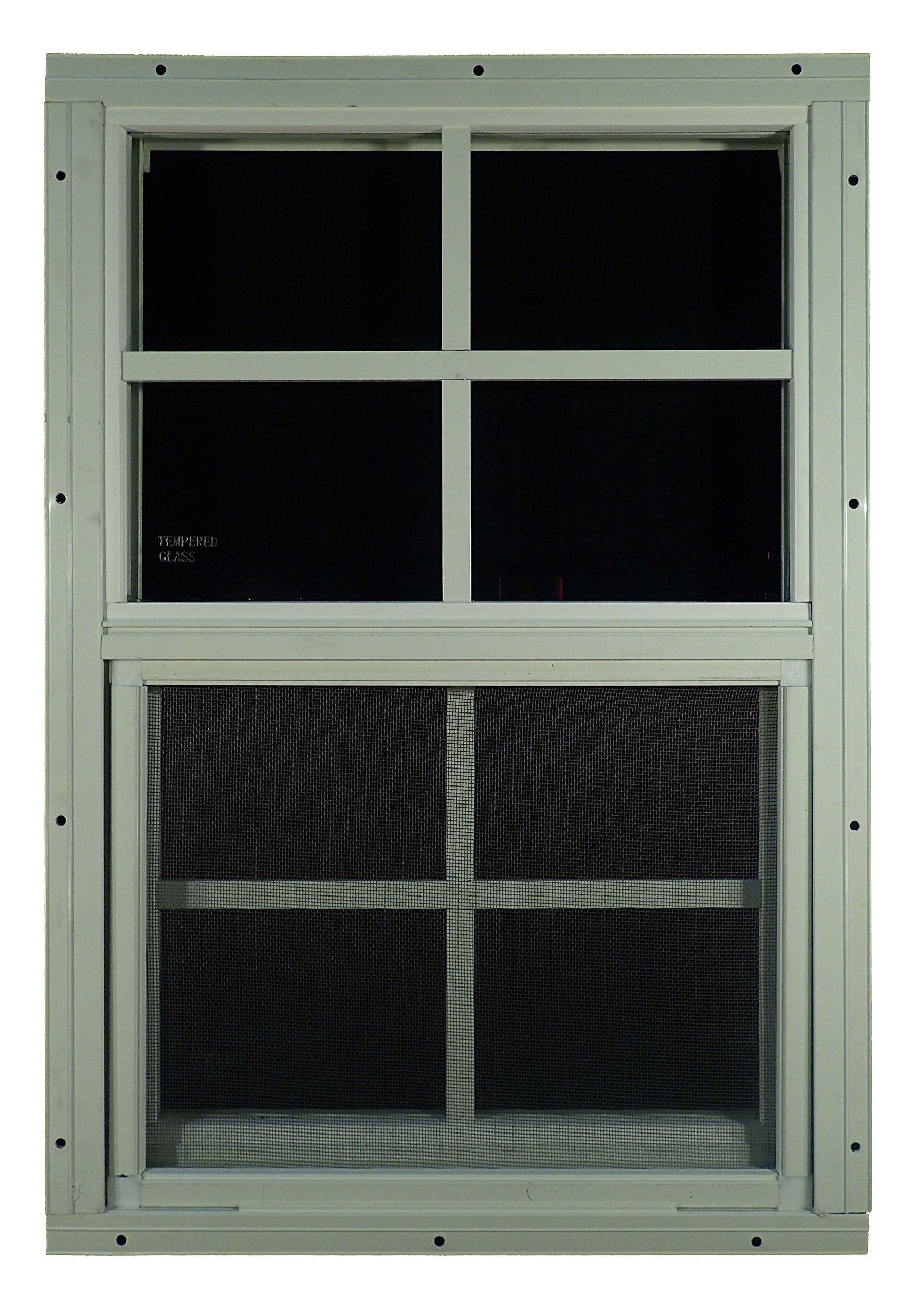 Shed Windows 14'' W x 21'' H - Flush Mount w/ Safety Glass - Playhouse Windows (White) by Outdoor Play and Storage (Image #1)