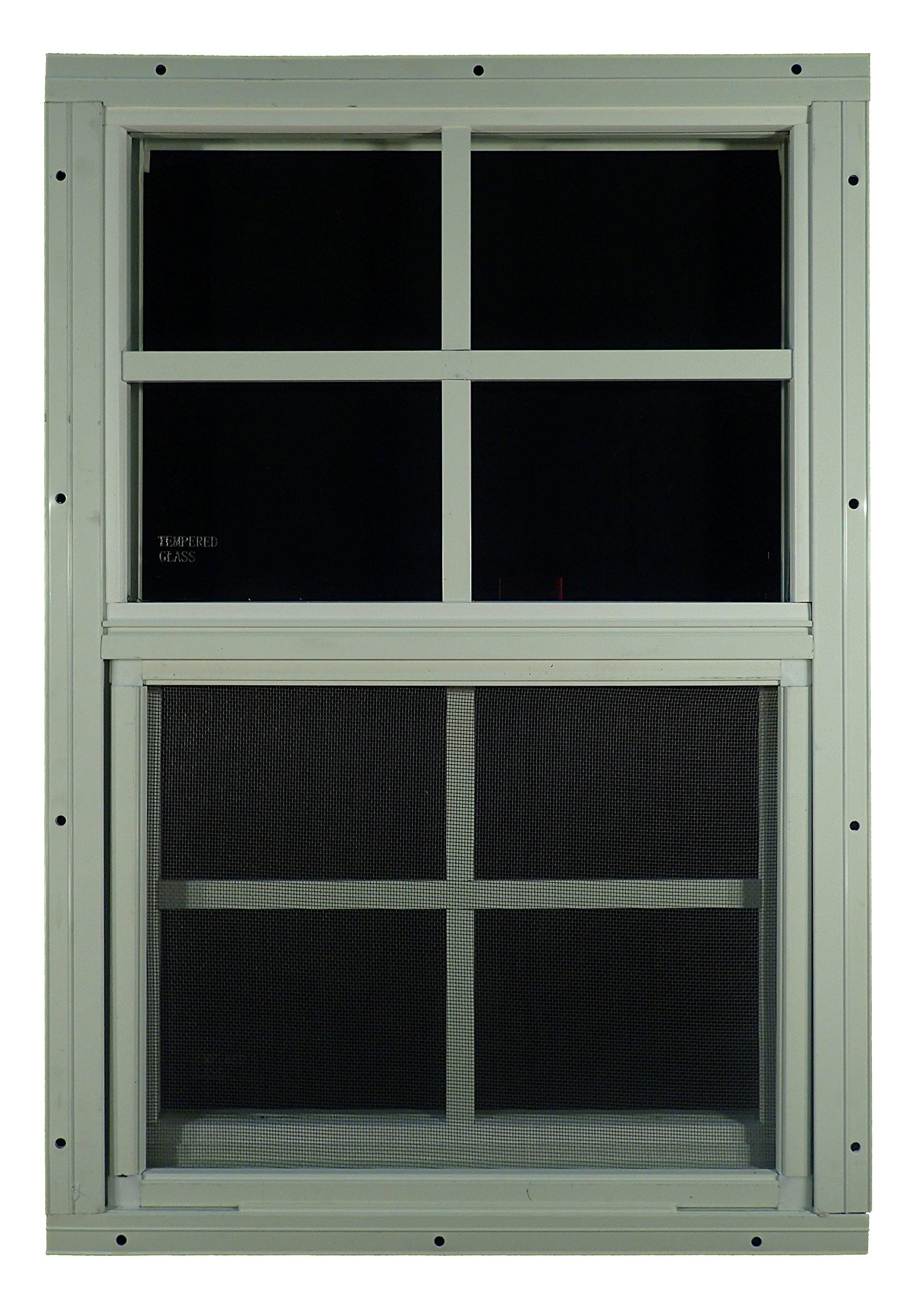 Shed Windows 14'' W x 21'' H - Flush Mount w/ Safety Glass - Playhouse Windows (White)