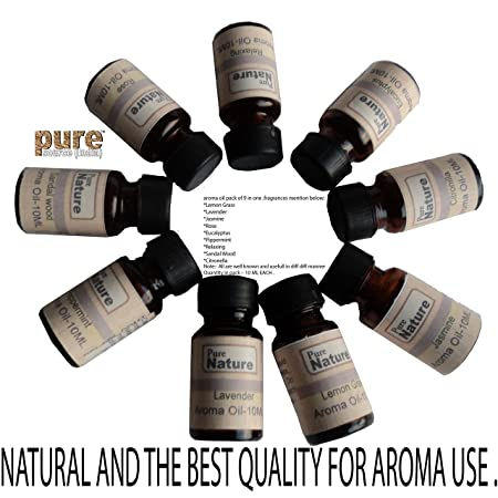 Pure Source India Set Of 9 Bottle Aroma Oil,Relaxing 10 Ml Each