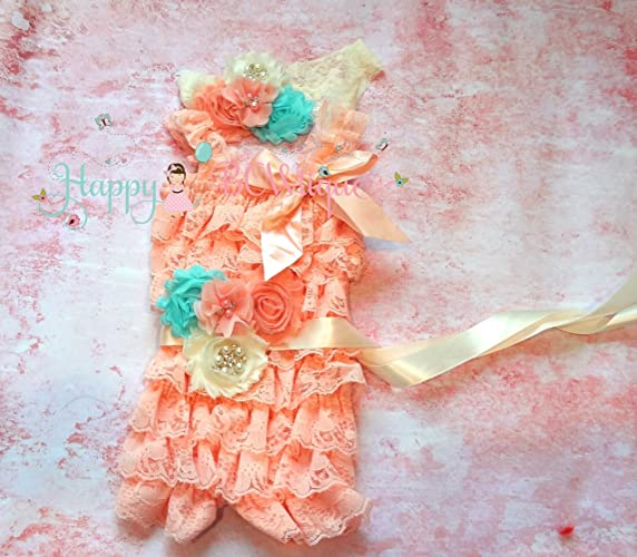6690fa5f8393 Image Unavailable. Image not available for. Color  Ivory Aqua Blush Peach Petti  Lace Romper ...