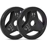 Day 1 Fitness Cast Iron Olympic 2-Inch Grip Plate by D1F for Barbell, 6 Weights Available (2.5 to 45lbs) Plates for Weightlif