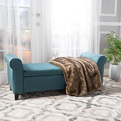 Gentil Amazon.com: Christopher Knight Home 299749 Living Darrington Armed Dark  Teal Fabric Storage Bench, 19.75 D X 50.00 W X 19.50 H,: Kitchen U0026 Dining