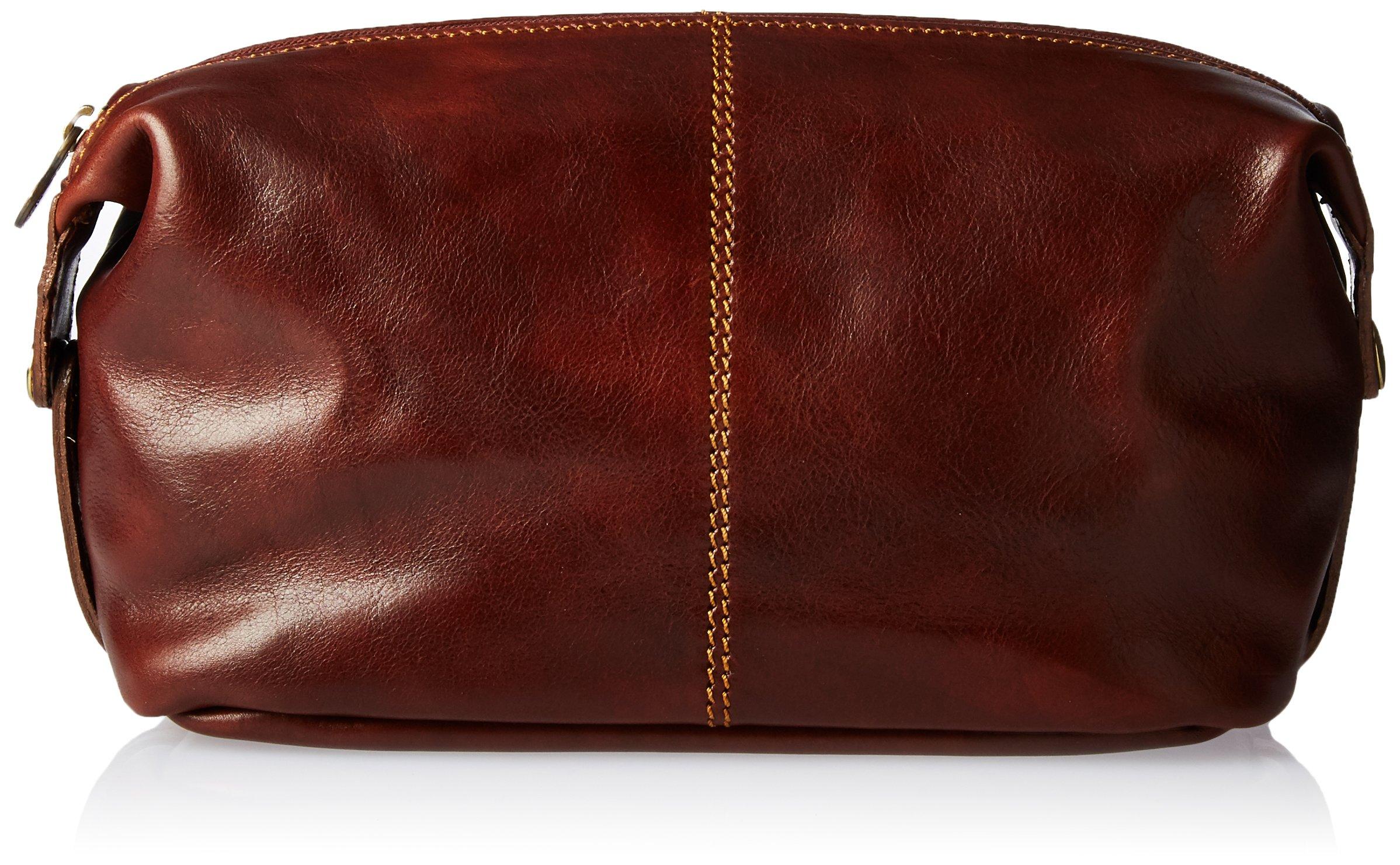 Alberto Bellucci Men's Italian Leather Toiletry Travel Dopp Kit Case, Brown
