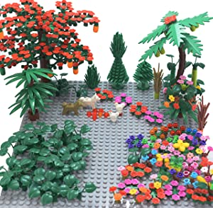 """Sawaruita Garden Park Building Block Toy Set,Flower Botanical Scenery Accessories 450 + , Compatible All Major Brands(Including 2Pack of 5"""" x 5"""" Base Plate (A)"""