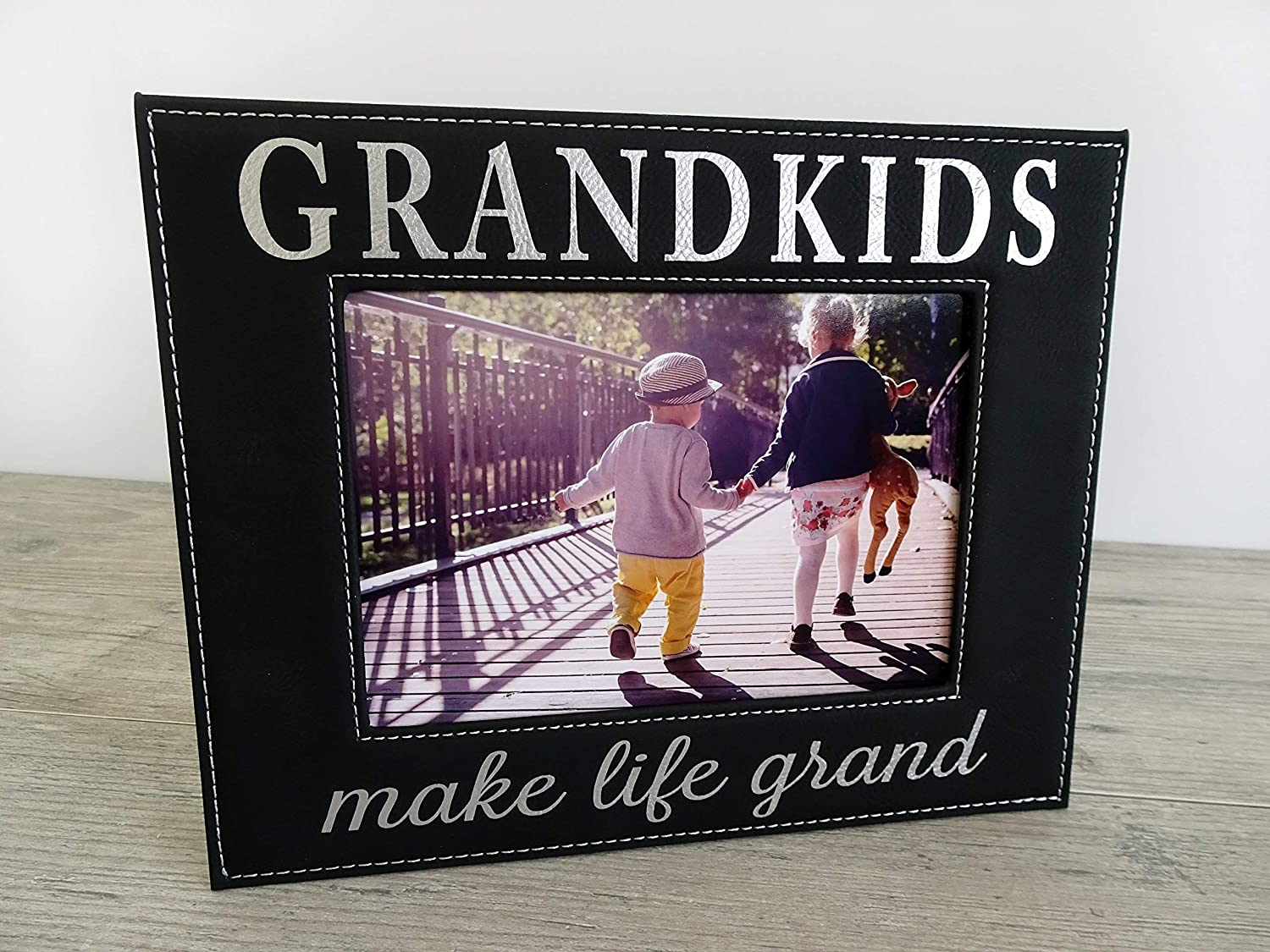 Gift for Grandparents Black Faux Leather 5x7 Picture Frame Christmas ...