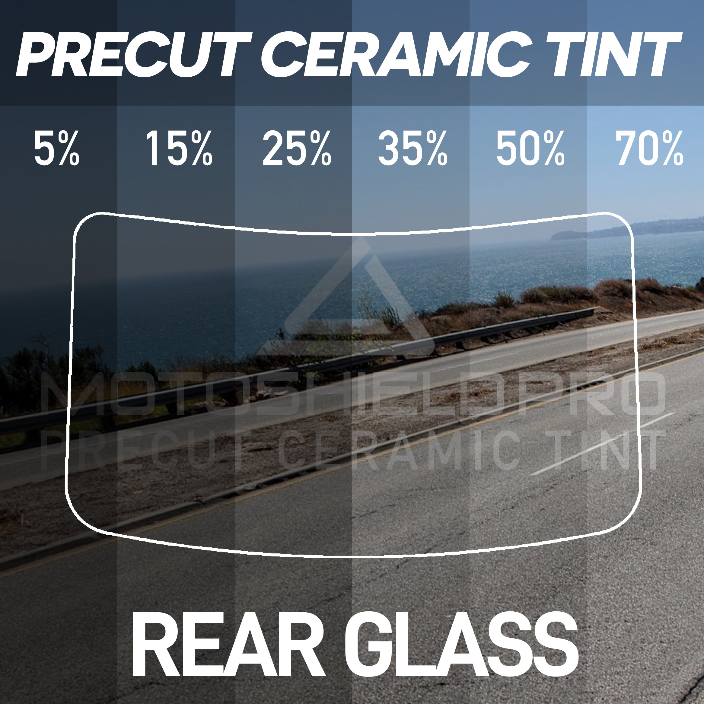 MotoShield Pro Precut Ceramic Tint Film [Blocks Up to 99% of UV/IRR Rays] Window Tint for Cars - Rear Glass Only, Any Tint Shade