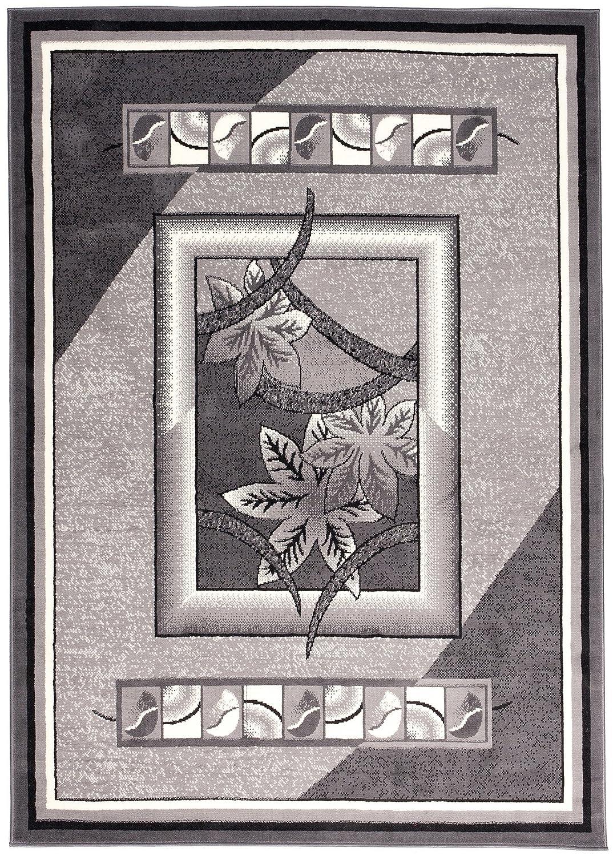 Carpeto Kurzflor Teppich Grau für Schlafzimmer Modern Wohnzimmer mit Blumenmuster (60x100 cm)