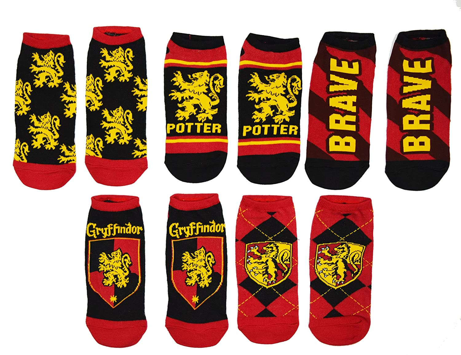 Harry Potter 5 Pack Gryffindor Ravenclaw Huffle Puff Slytherin House No Show Ankle Socks by Hyp