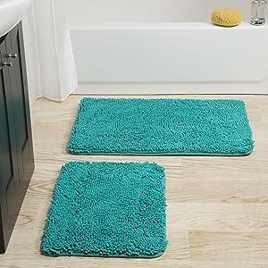 Bedford Home 67A-99025 2 Piece Memory Foam Shag Bath Mat-Seafoam