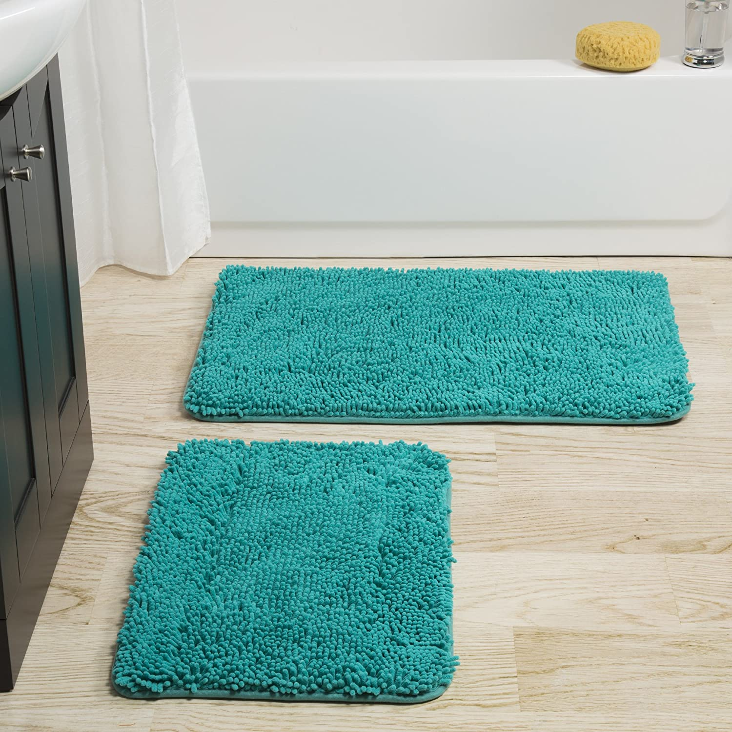 Bedford Home 2 Piece Memory Foam Shag Bath Mat - Blue 67A-98950