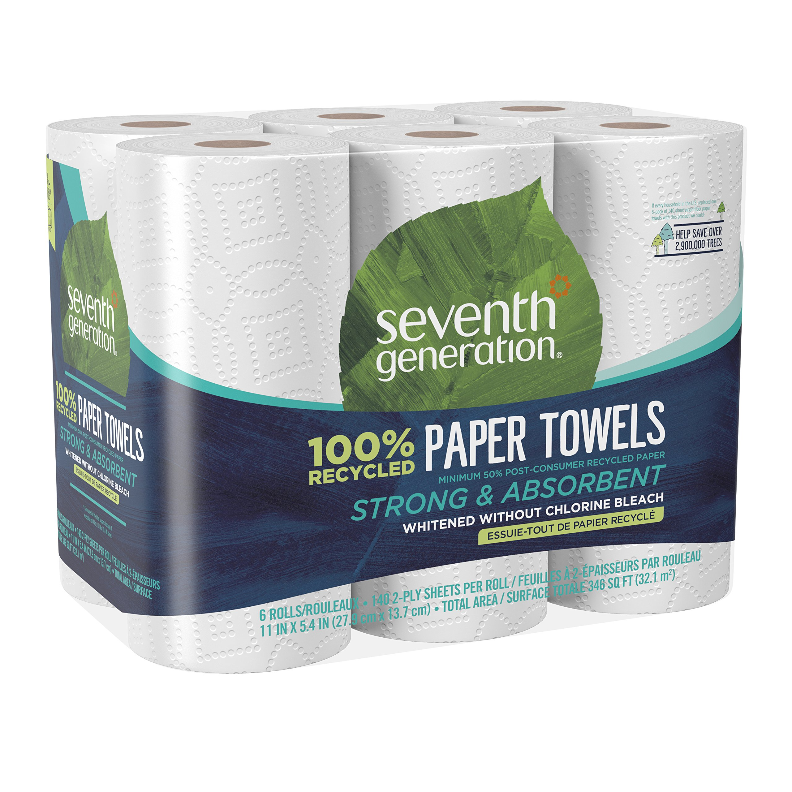 Seventh Generation Paper Towels, 100% Recycled Paper, 2-ply, 6-Count (Pack of 4) by Seventh Generation (Image #10)