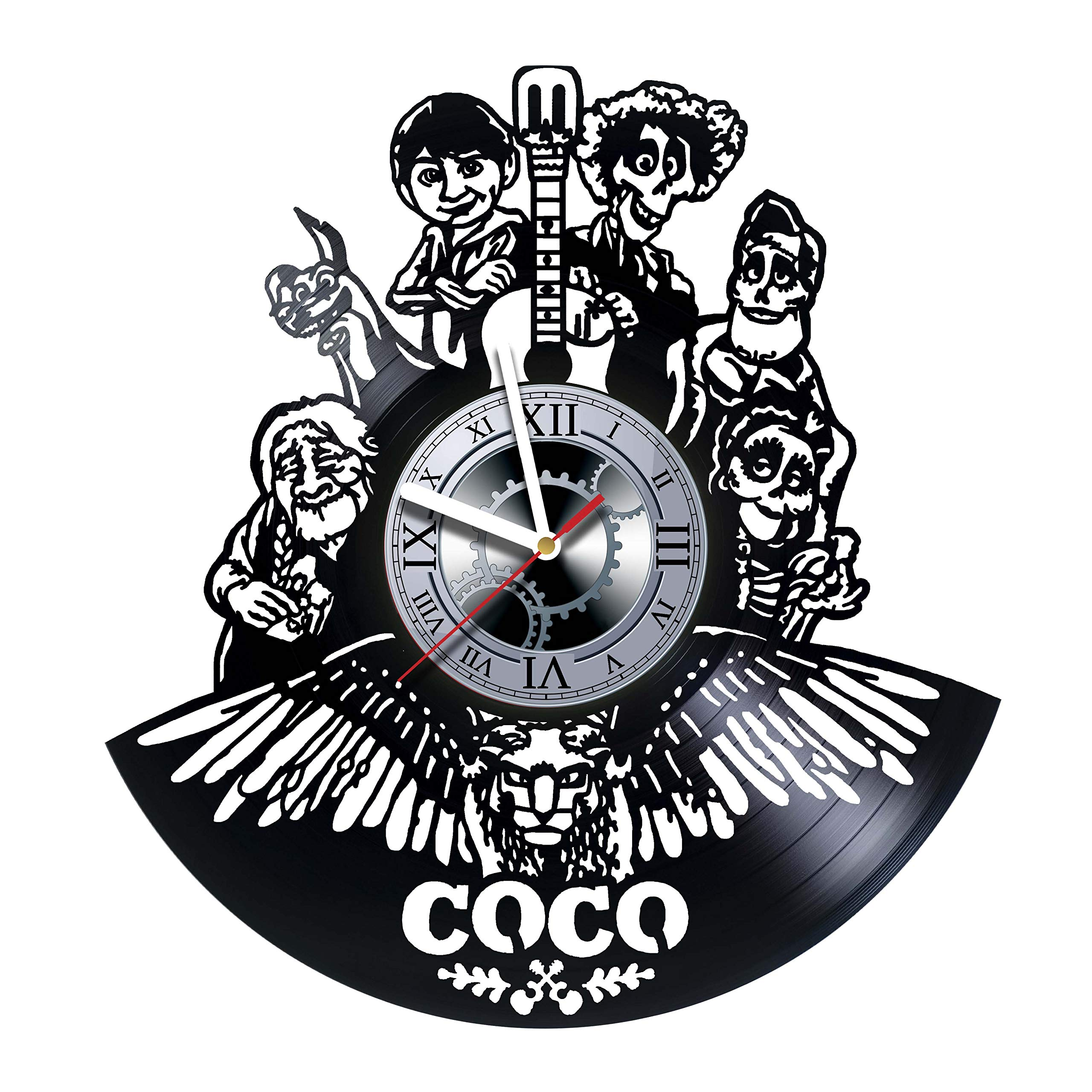 Coco -Walt Disney, Cartoons Movie, Vinyl Wall Clock, Best Gift For Girl,Vinyl Record, Kovides, Birthday Gift, Silent, Wall Sticker, Modern Wall Art, Pictures Castle Home Décor