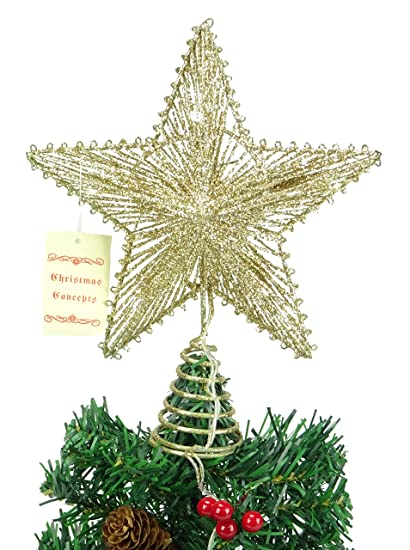 christmas concepts 10 champagne springy star warm white led lights christmas tree top star - Led Light Christmas Decorations