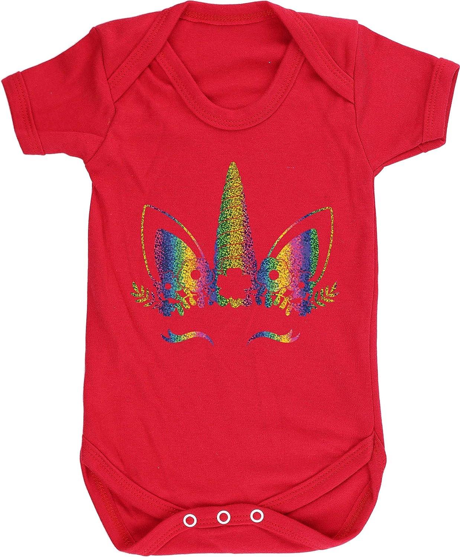 Hippowarehouse Rainbow Flower Unicorn Baby Vest Bodysuit Short Sleeve Boys Girls