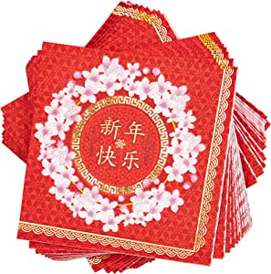 Chinese New Year Paper Napkins, Red and Gold Foil (5 x 5 Inches, 50 Pack)