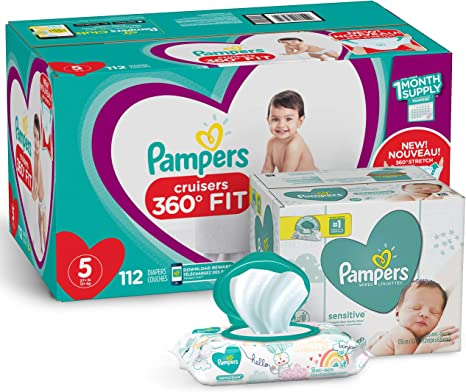 198 Count and Baby Wipes Sensitive  Pop-Top Packs Pampers Swaddlers Disposable Baby Diapers Size 1 336 Count