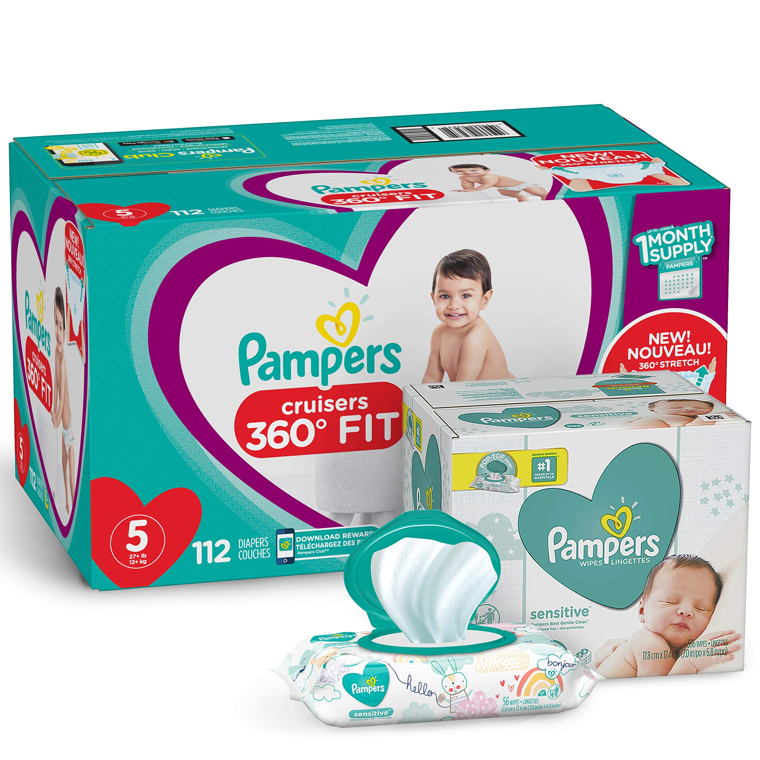 Pampers Pull On Diapers Size 5 - Cruisers 360˚ Fit Disposable Baby Diapers with Stretchy Waistband, 112 Count ONE Month Supply with Baby Wipes Sensitive 6X Pop-Top Packs, 336 Count