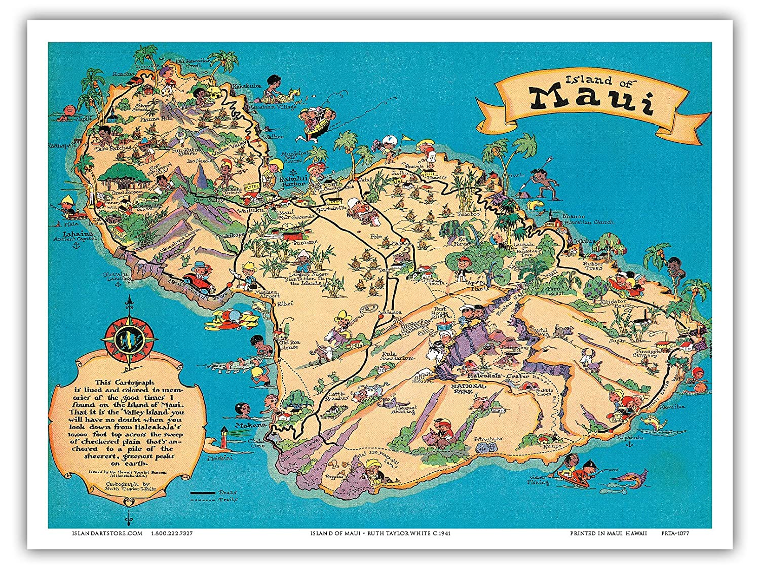 picture relating to Printable Map of Maui called Hawaiian Island Of Maui - Hawaii Vacationer Bureau - Typical Hawaiian Coloured Cartographic Map by means of Ruth Taylor White c.1941 - Hawaiian Find out Artwork Print -