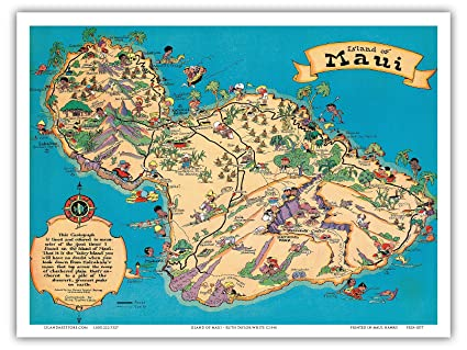 Hawaii Map Maui.Amazon Com Hawaiian Island Of Maui Hawaii Tourist Bureau