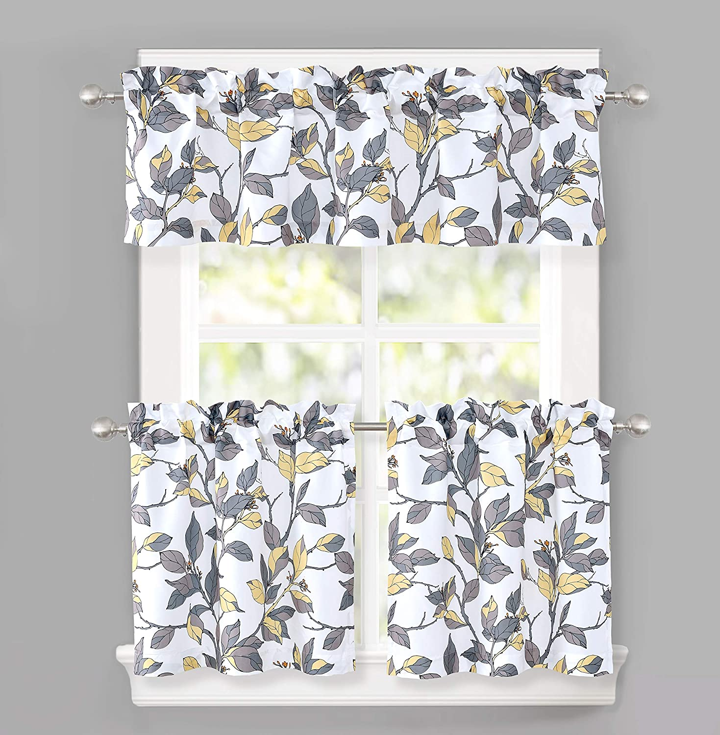 DriftAway Ryan Sketch Floral Branch Pattern Semi Sheer 3 Pieces Rod Pocket Kitchen Window Curtain Set with 2 Tiers 29 Inch by 24 Inch Each and 1 Valance 58 Inch by 14 Inch Yellow Gray