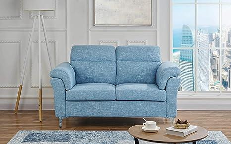 Amazon.com: Sofá de 2 plazas de 2 plazas de tela de lino ...