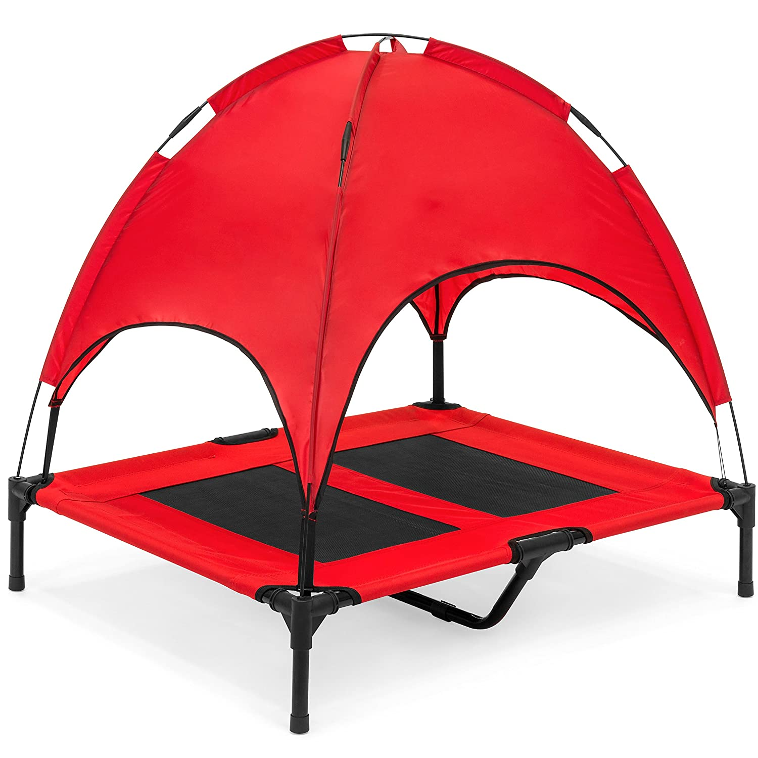 Best Choice Products Raised Mesh Cot Cooling Dog Bed with Removable Canopy Shade Tent, Travel Bag, Breathable Fabric