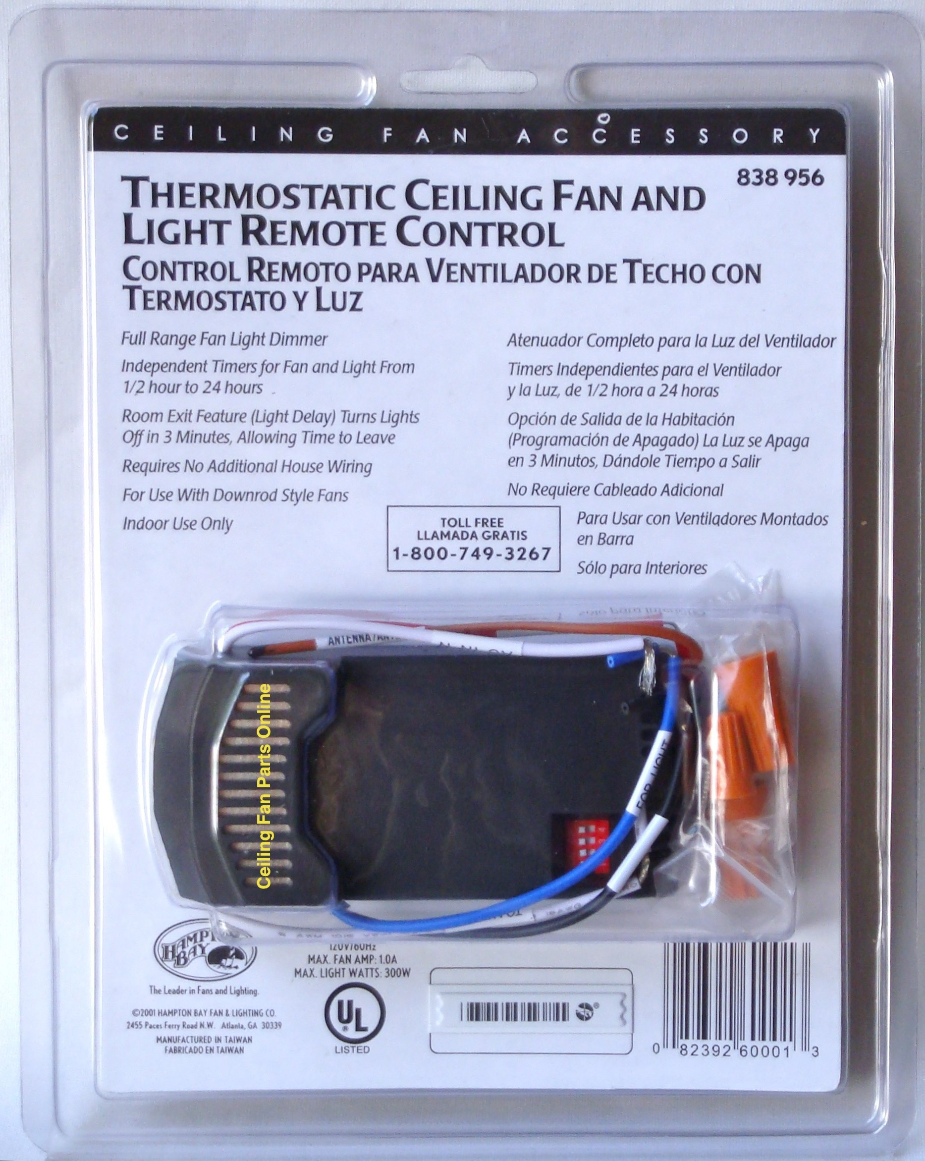 Hampton Bay Thermostatic Ceiling Fan and Light Remote Control 838-956 by Hampton Bay (Image #1)