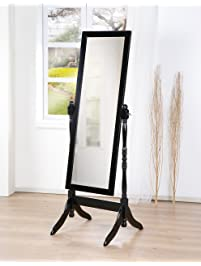 wooden cheval bedroom floor mirror with twisted post in black finish
