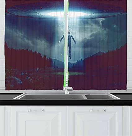 Amazon Com Ambesonne Quirky Kitchen Curtains Abducted By Ufo