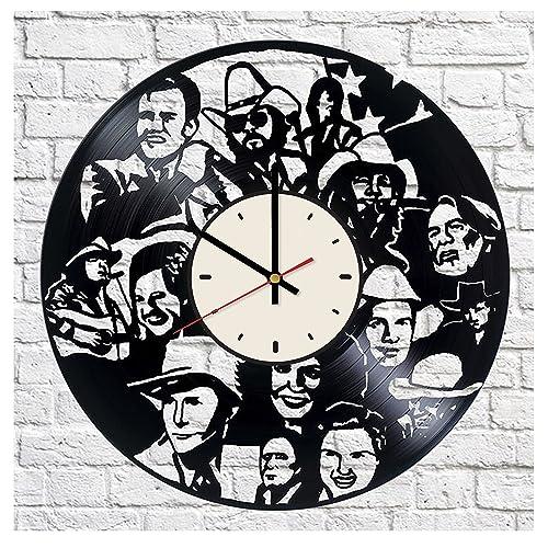 Country Music Ornament Johnny Cash Decor Vinyl Record Wall Clock Artwork Gift Idea For Birthday