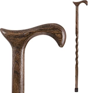 product image for Brazos Walking Cane for Men and Women Handcrafted of Lightweight Wood and made in the USA, Flint Oak, 37 Inches