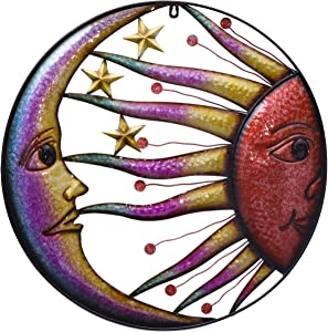 TERESA'S COLLECTIONS 22.25 inch Sun Moon and Stars Metal Wall Art Decor Vivid Sun Face Celestial Wall Sculptures Hanging Décor for Indoor Outdoor Home Garden Decoration