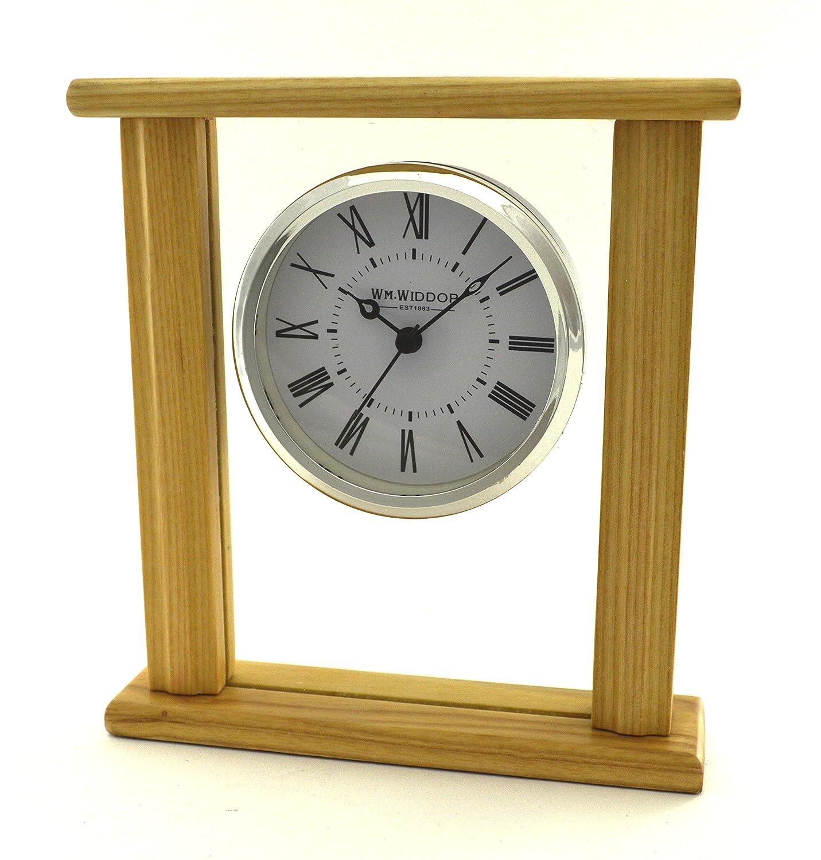 in legno e vetro Orologio da mensola elegante al quarzo per camino