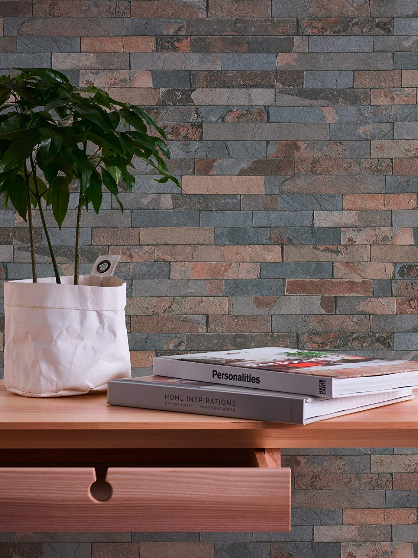 fabricado en Alemania Papelpintado de vell/ón,Best of Wood n Stone 10,05 m x 0,53 m fotorealista 355823 Marr/ón de A.S con dise/ño de piedra natural 355821 35582-1 Cr/éation gris