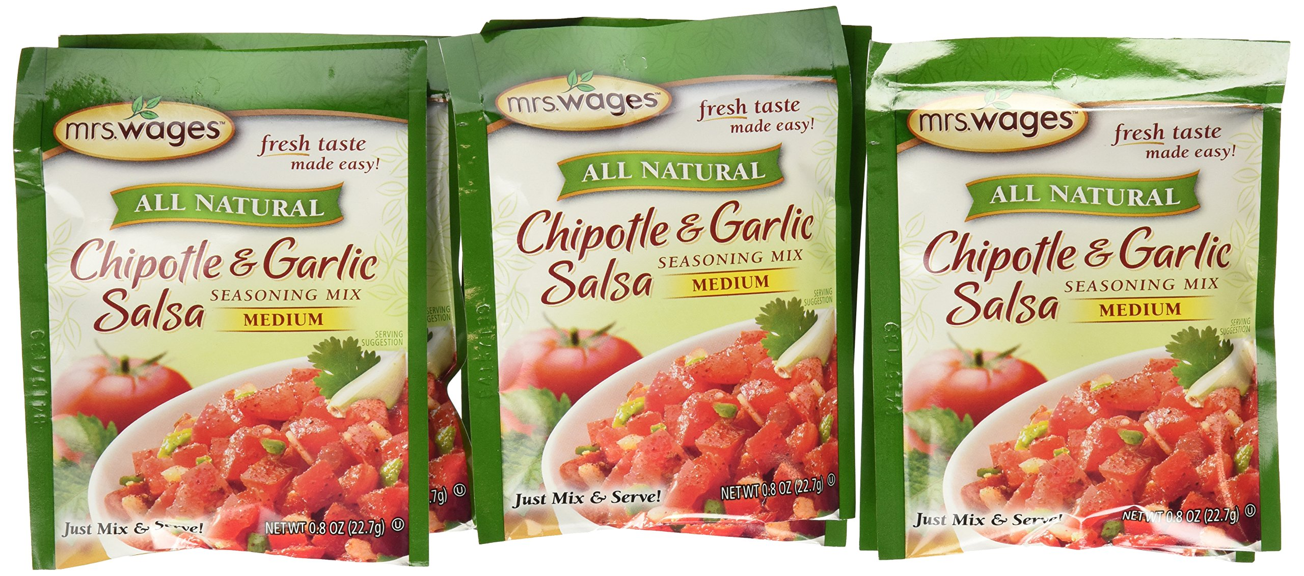 Mrs. Wages Chipotle & Garlic Salsa Mix, 0.8-Ounce Pouches (Pack of 12) by Mrs. Wages