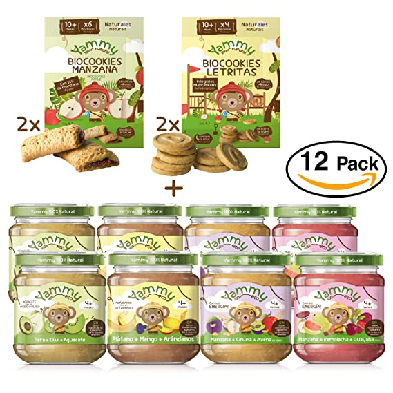 Yammy, Pack Meriendas Potitos y Galletas Ecológicos naturales +12 meses, Surtido - 12