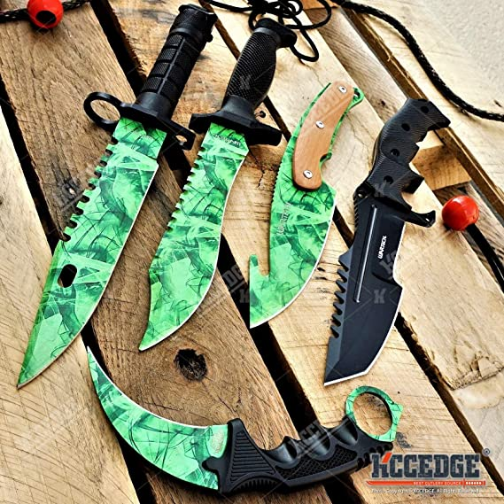 KCCEDGE BEST CUTLERY SOURCE Tactical Knife Survival Knife Hunting Knife 5PC Tactical CSGO Combo Fixed Blade Knives Set Camping Accessories Camping Gear Survival Kit Survival Camping Accessories 75714