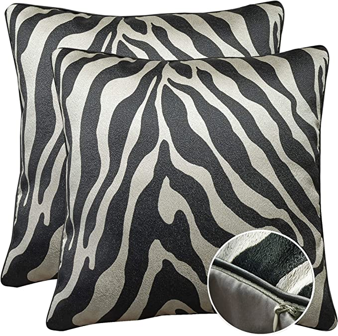 Womhope Set Of 2 Black And Silver Vintage Animal Decorative Throw Pillow Covers Pillow Cases Cushion Cases Throw Pillow Covers 18 X 18 Inch For Living Room Couch And Bed Zebra Print Set Of 2 Pcs Home Kitchen