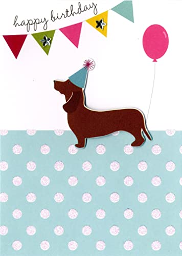 Dachshund sausage dog and friends emerge from giant birthday cake happy birthday sausage dog greeting card second nature yours truly cards bookmarktalkfo Images